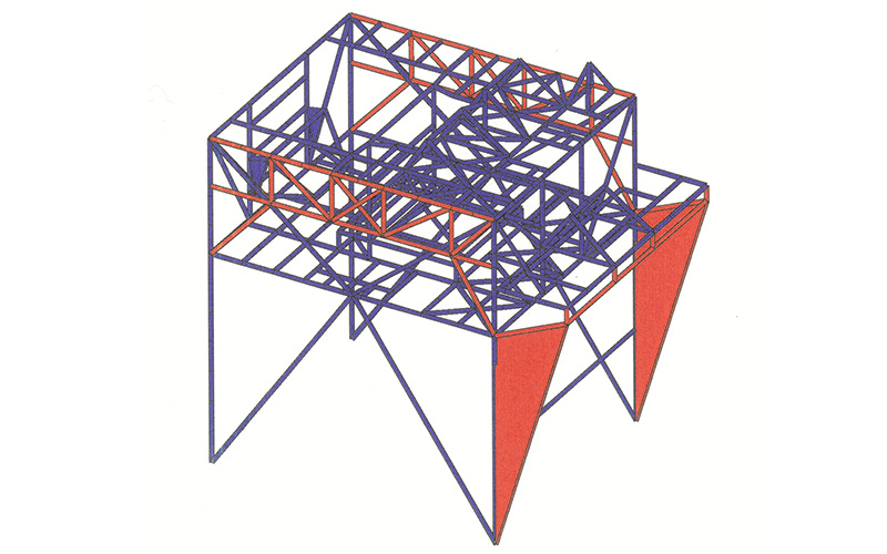 Rigidification of steel structure to avoid resonant behaviour